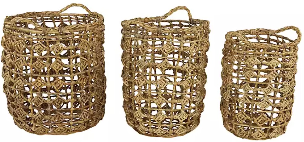 Tote Baskets Banana Leaf Open Weave Baskets #Storage #Baskets #BasketStorage #ToteBaskets #HomeStorage #Organization #ATidyHome