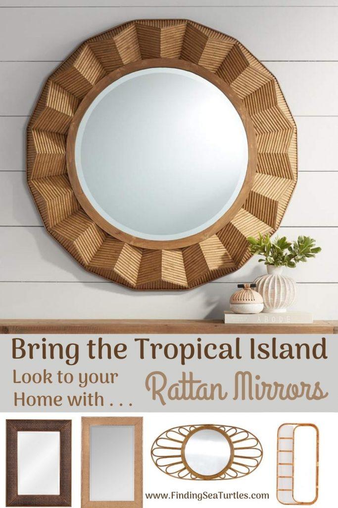 Bring the Tropical Island Look to your Home with Rattan Mirrors #Mirrors #Coastal #RattanMirrors #BeachHome #CoastalDecor #CoastalFurniture #Seaside #Tropical #Island