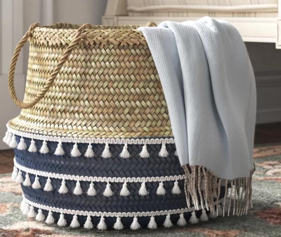 Boho Inspired Decor Collapsible Wicker Basket #Storage #Baskets #BasketStorage #ToteBaskets #HomeStorage #Organization #ATidyHome