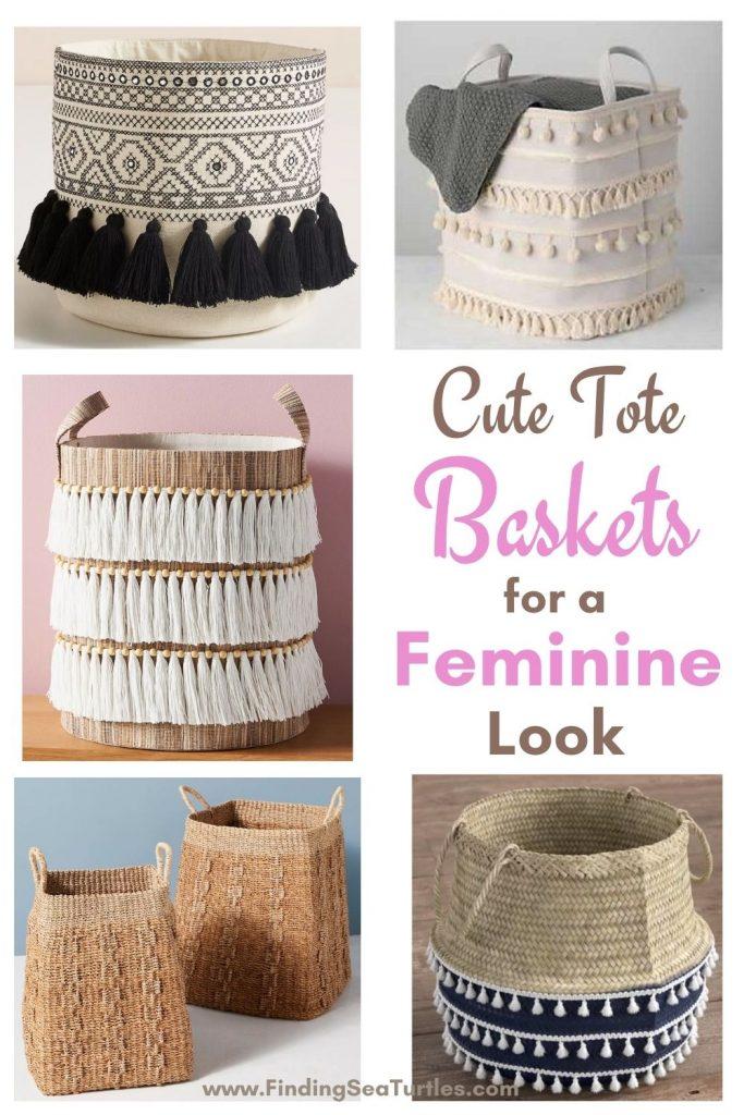 Cute Tote Baskets for a Feminine Look #Storage #Baskets #BasketStorage #ToteBaskets #HomeStorage #Organization #ATidyHome