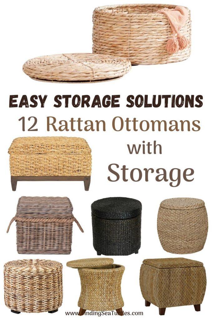 Rattan Ottomans Easy Storage Solutions 12 Rattan Ottomans with Storage #Ottoman#Storage #RattanOttomans #StorageOttoman #HomeStorage #Organization #TidyHome #Coastal