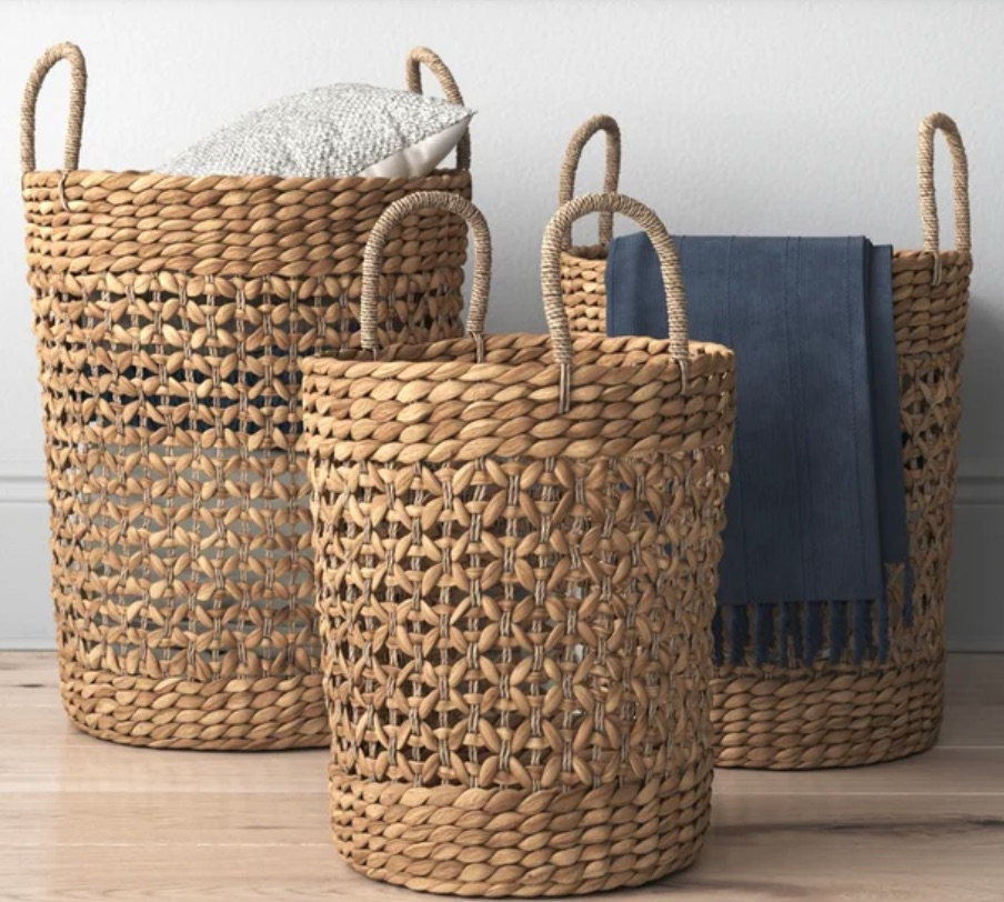 Tote Baskets Fairport Seagrass Wicker Basket Set #Storage #Baskets #BasketStorage #ToteBaskets #HomeStorage #Organization #ATidyHome