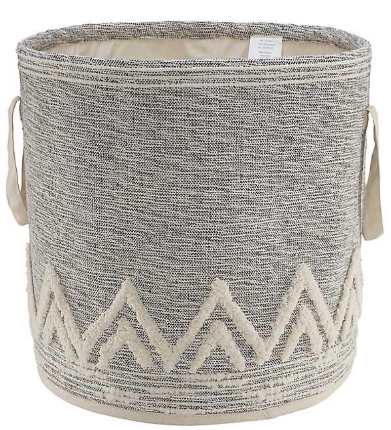 Neutral Decors Gray and White Tuft Peaks Storage Basket #Storage #Baskets #BasketStorage #ToteBaskets #HomeStorage #Organization #ATidyHome