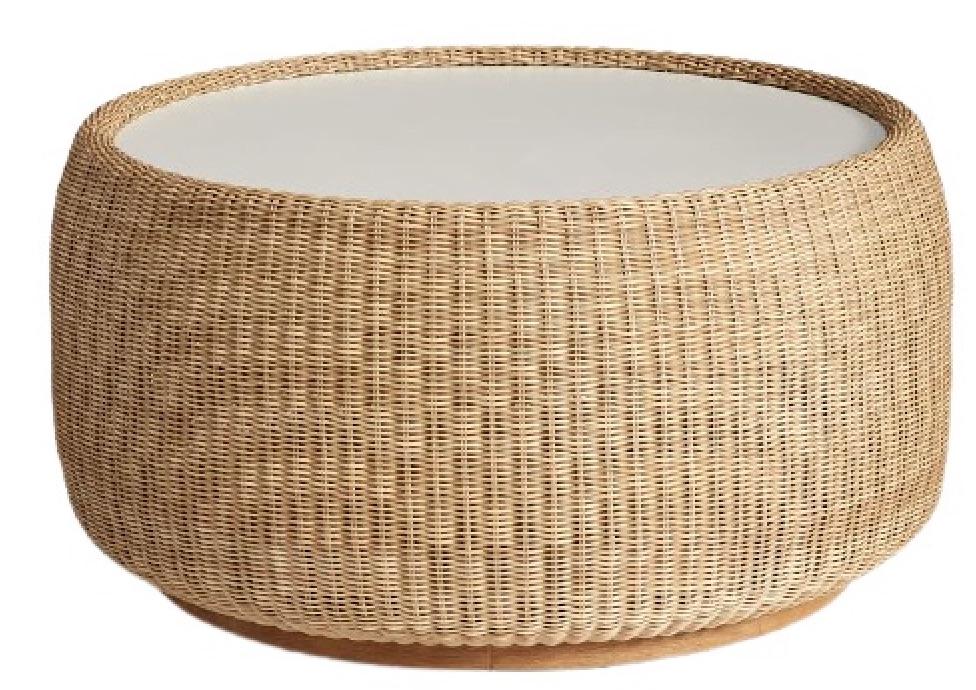 Coastal Style Hampton Wicker Drum Coffee Table #CoffeeTable #Coastal #RattanCoffeeTables #BeachHome #CoastalDecor #CoastalFurniture #Seaside