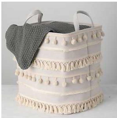 Storage Solutions Ivory Pom Pom Fabric Basket #Storage #Baskets #BasketStorage #ToteBaskets #HomeStorage #Organization #ATidyHome