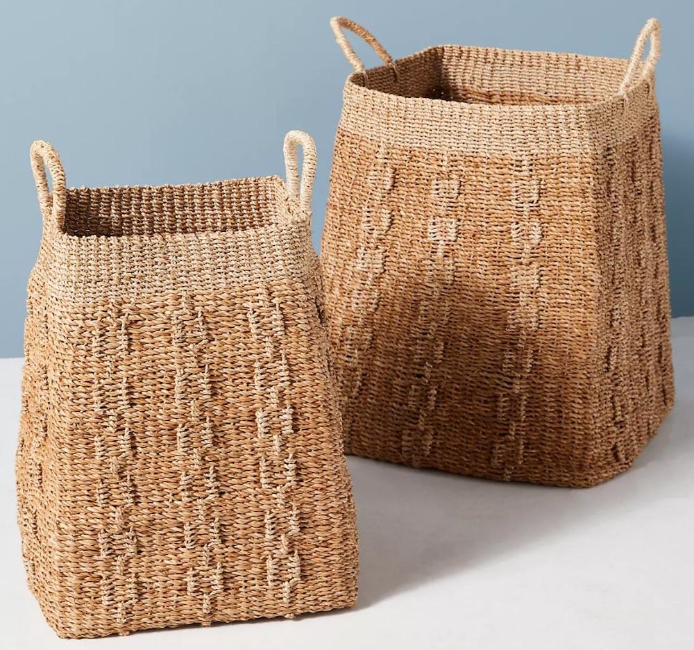 Tote Baskets Lark Handwoven Baskets #Storage #Baskets #BasketStorage #ToteBaskets #HomeStorage #Organization #ATidyHome