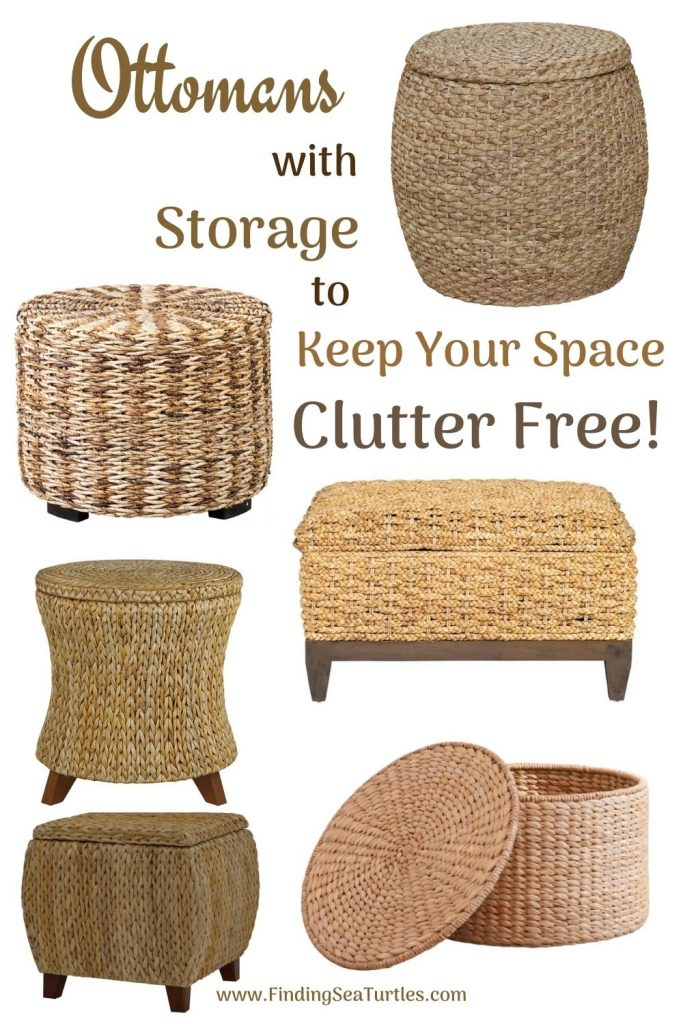 Rattan Ottomans with Storage Ottomans with Storage to Keep Your Space Clutter Free #Ottoman#Storage #RattanOttomans #StorageOttoman #HomeStorage #Organization #TidyHome #Coastal