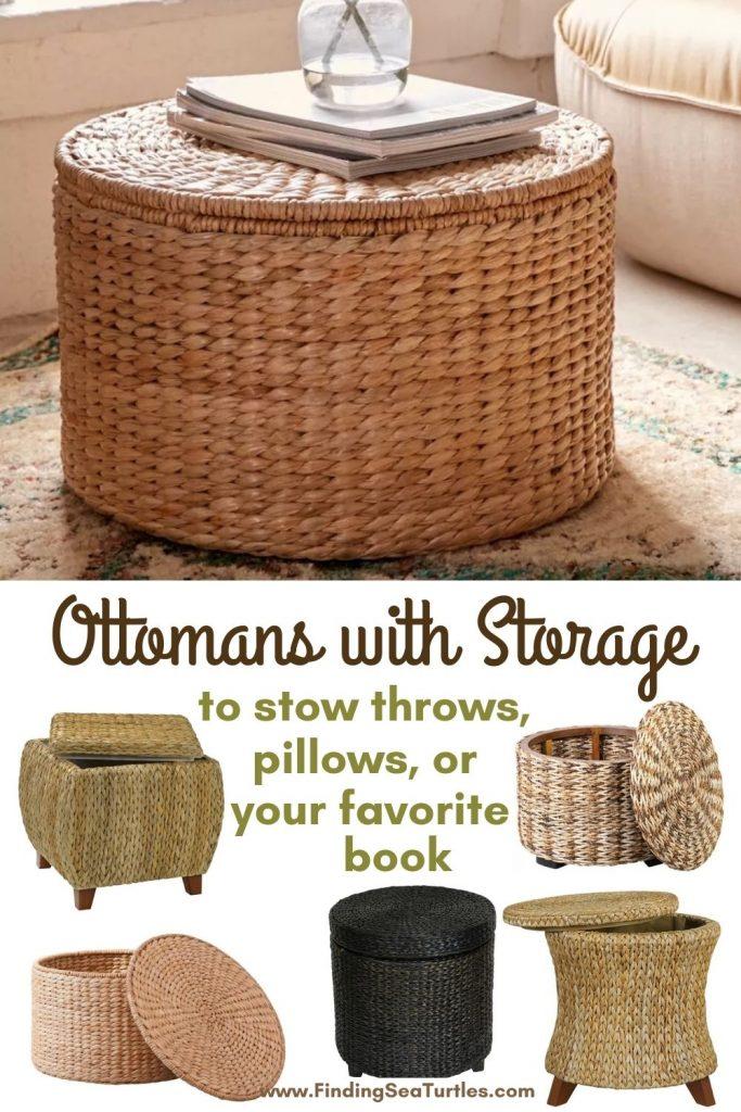 Rattan Ottomans Ottomans with Storage to stow throws, pillows, or your favorite book #Ottoman#Storage #RattanOttomans #StorageOttoman #HomeStorage #Organization #TidyHome #Coastal