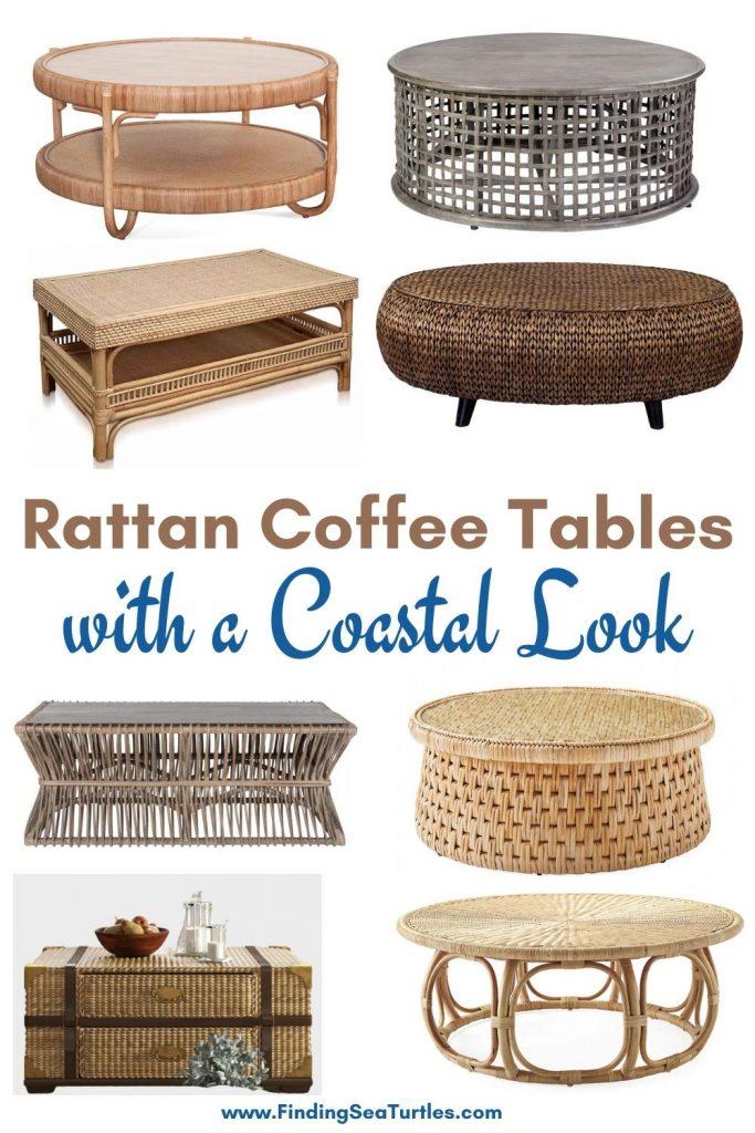 Rattan Coffee Tables with a Coastal Look #CoffeeTable #Coastal #RattanCoffeeTables #BeachHome #CoastalDecor #CoastalFurniture #Seaside #Tropical #Island