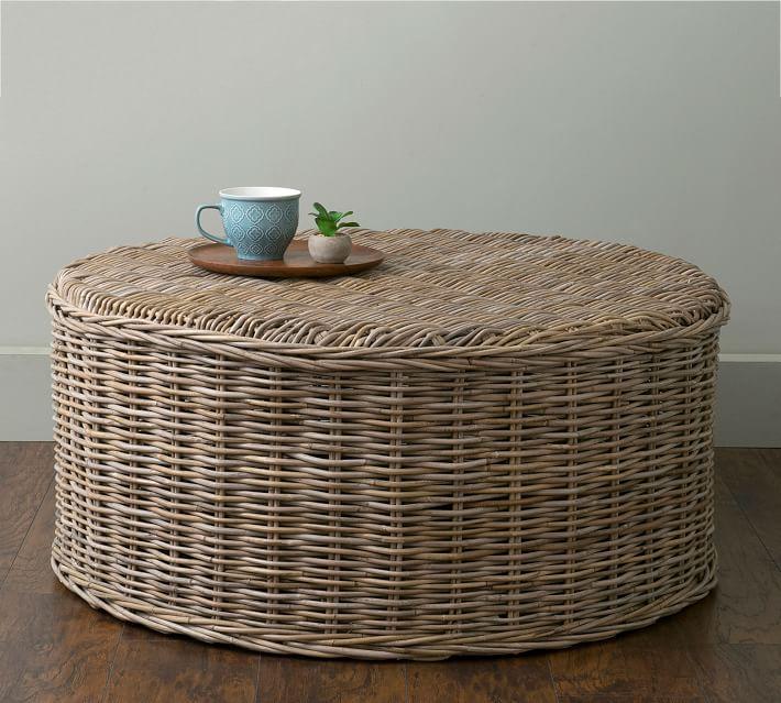 Seaside Style Rattan Round Coffee Table #CoffeeTable #Coastal #RattanCoffeeTables #BeachHome #CoastalDecor #CoastalFurniture #Seaside