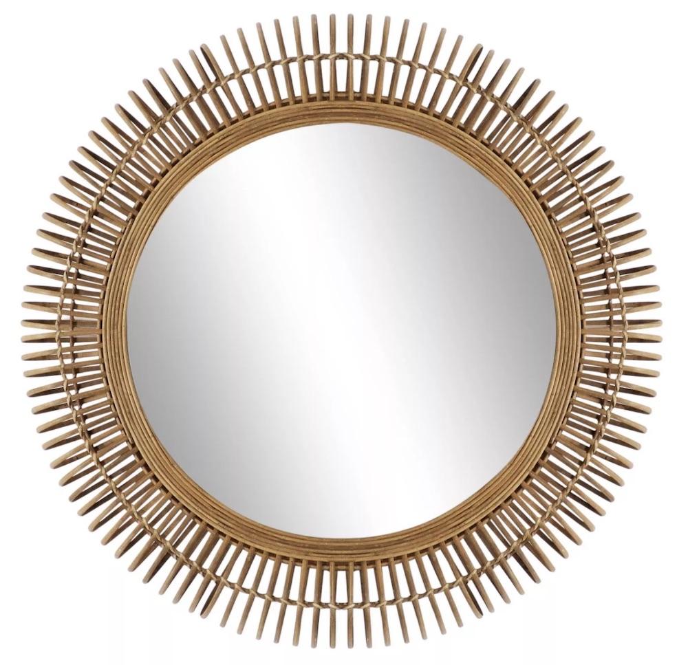 Tropical Vibes Round Natural Wicker Wall Mirror #Mirrors #Coastal #RattanMirrors #BeachHome #CoastalDecor #CoastalFurniture #Seaside #Tropical #Island