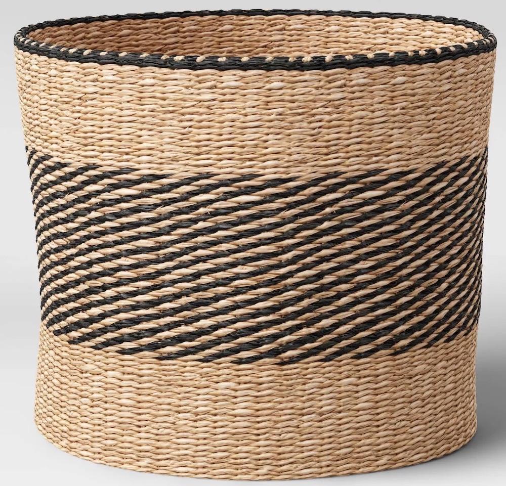 Keep it Tidy Round Seagrass Basket Striped #Storage #Baskets #BasketStorage #ToteBaskets #HomeStorage #Organization #ATidyHome