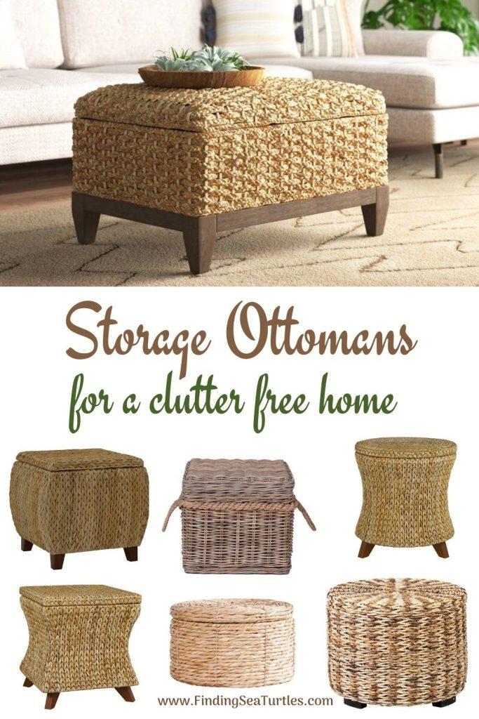 Rattan Ottomans with Storage Storage Ottomans for a clutter free home #Ottoman#Storage #RattanOttomans #StorageOttoman #HomeStorage #Organization #TidyHome #Coastal