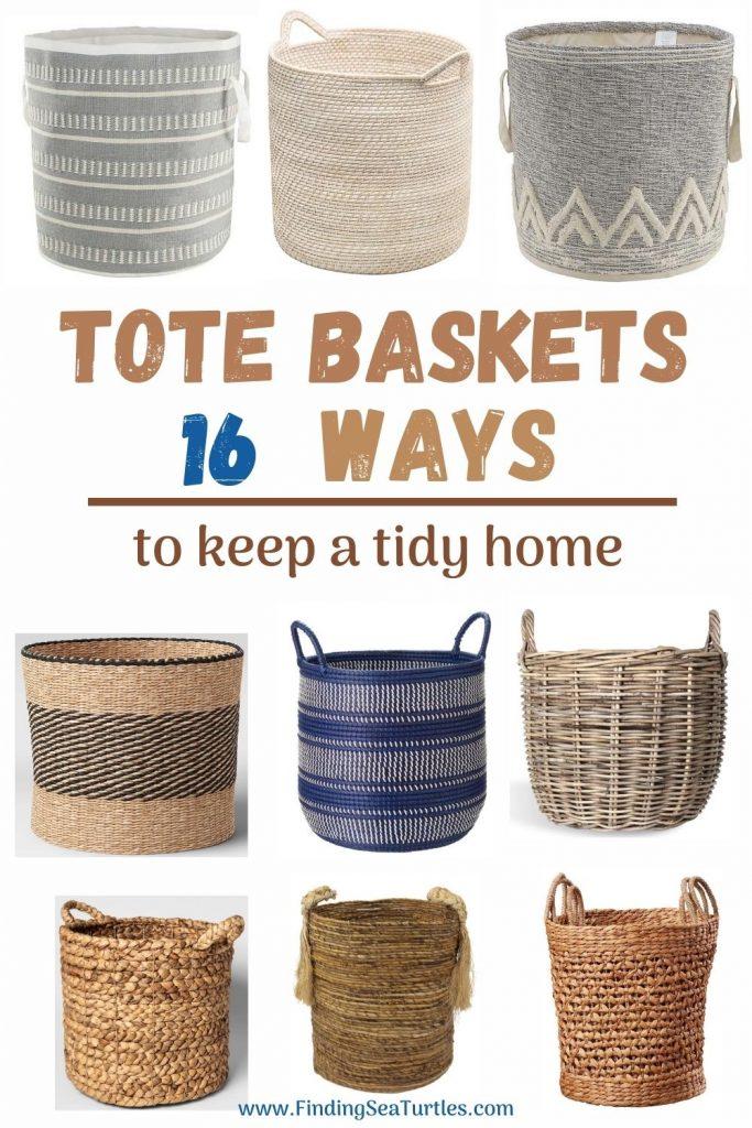 Tote Baskets 16 Ways to keep a tidy home #Storage #Baskets #BasketStorage #ToteBaskets #HomeStorage #Organization #ATidyHome
