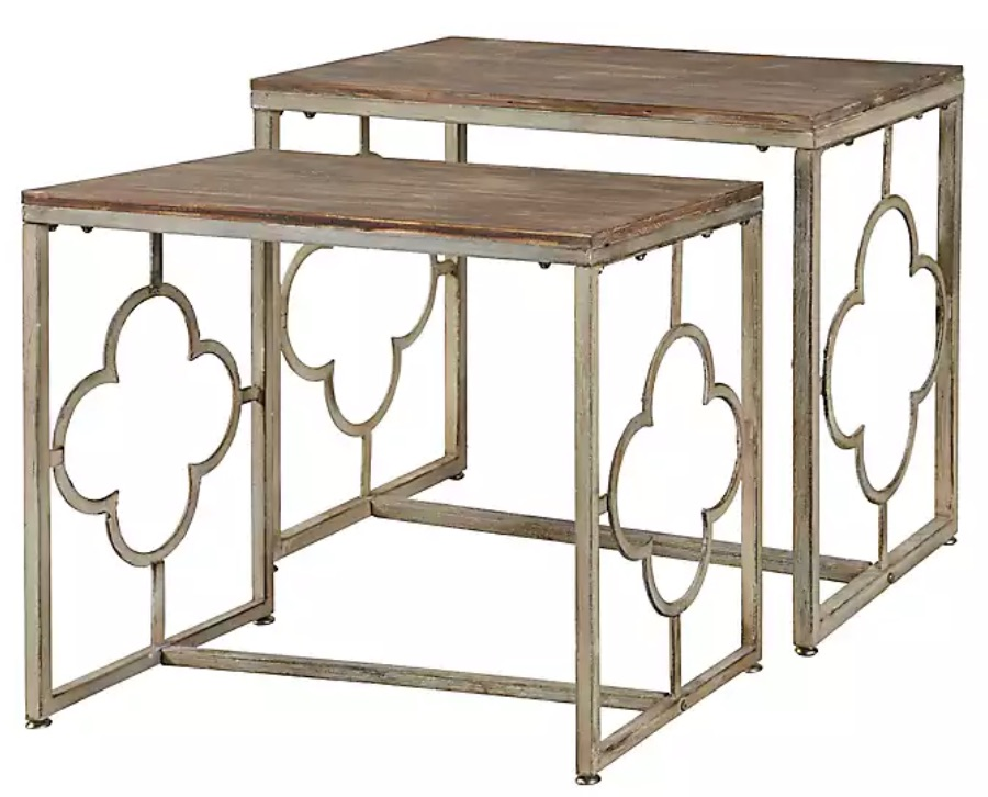 A Blend of Function and Style Wood and Metal Quatrefoil Nesting Tables #NestingTables #SmallTables #SideTables #SmallSpaces #SmallSpaceLiving