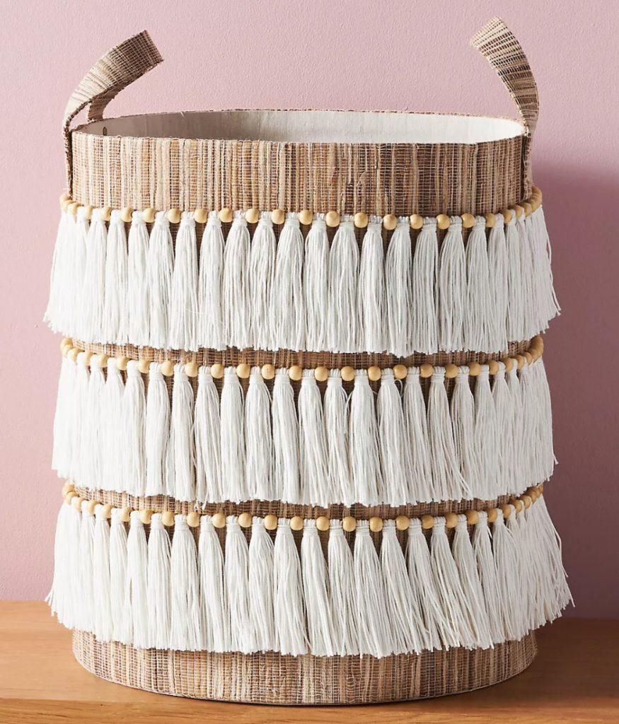 Tote Baskets Wylma Fringed Basket #Storage #Baskets #BasketStorage #ToteBaskets #HomeStorage #Organization #ATidyHome