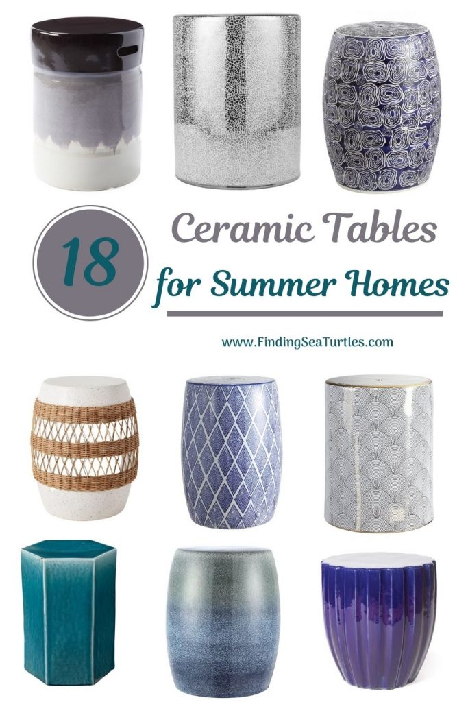Coastal Style Ceramic Tables 18 Ceramic Tables for Summer Homes #CeramicTables #AccentTables #GardenStools #BeachHome #CoastalDecor #SeasideDecor #IslandDecor #TropicalIslandDecor #BeachHouse