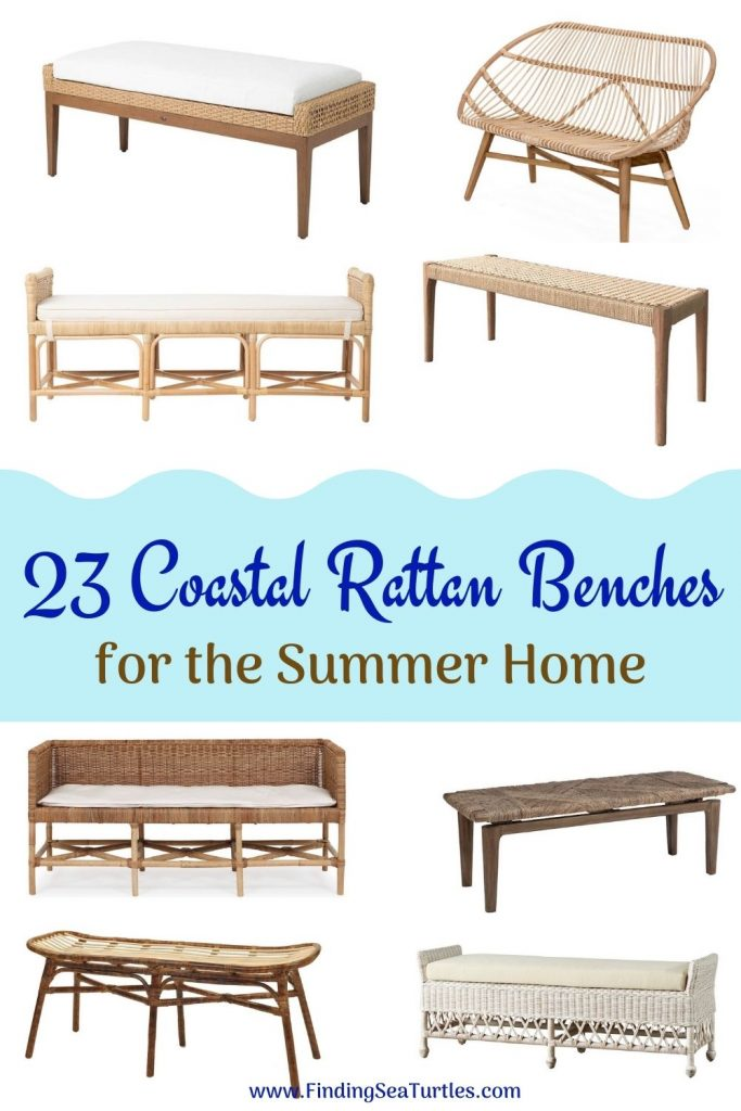 23 Coastal Rattan Benches for the Summer Home #Benches #RattanBenches #Coastal #CoastalRattanBenches #CoastalEntryway #CoastalBedroom #HomeDecor #EntrywayBenches #BeachHouse #SummerHouse #LakeHouse #CoastalHome