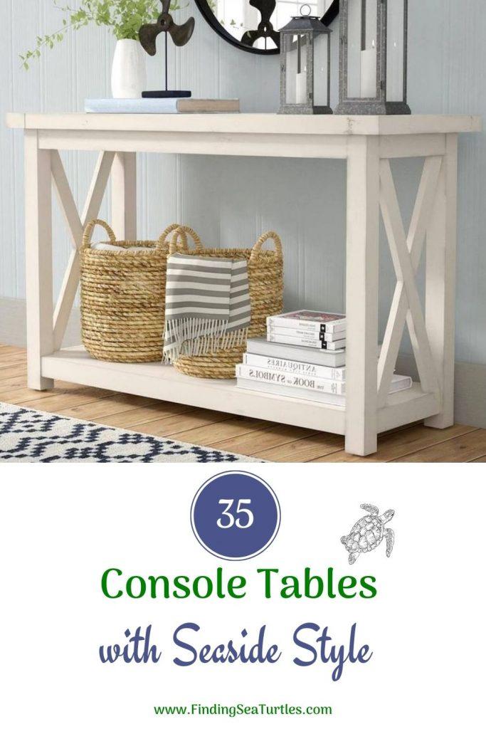 35 Console Tables with Seaside Style #Coastal #CoastalDecor #Entryway #Foyer #ConsoleTables #CoastalEntryway #CoastalFoyer #BeachHouse #BeachHome #SummerHouse #LakeHouse #ConsoleTable #SeasideDecor #IslandDecor #TropicalIslandDecor