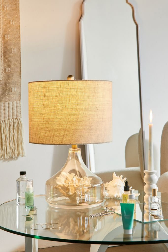 Summer House Decor Amber Luster Glass Table Lamp #Lamps #TableLamps #BeachHome #CoastalDecor #SeasideDecor #IslandDecor #TropicalIslandDecor #BeachHomeDecor #LivingRoom #Bedroom