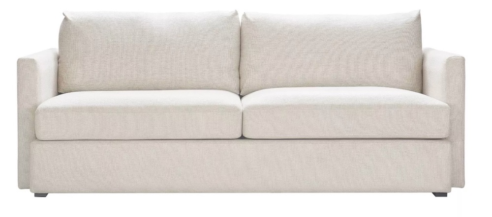 Coastal White Sofas Amelie Modern Loveseat #Sofas #CoastalSofas #BeachHome #CoastalDecor #SeasideDecor #IslandDecor #TropicalIslandDecor #BeachHomeSofas