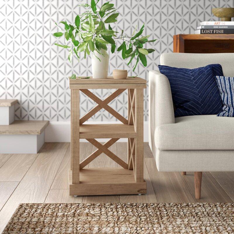 Seaside Style Decor Ari Solid Wood End Table with Storage #EndTables #SideTables #CoastalEndTables #BeachHome #CoastalDecor #SeasideDecor #IslandDecor #TropicalIslandDecor #BeachHouse