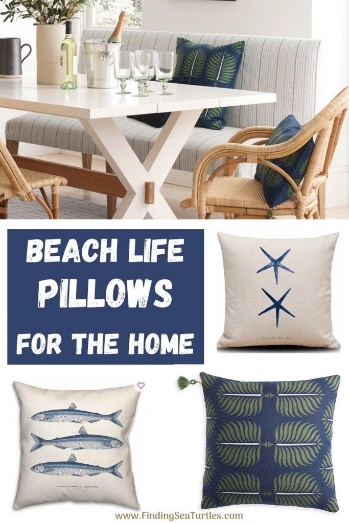 Coastal Beach House Pillows BEACH LIFE Pillows for the Home #Pillows #ThrowPillows #BeachHome #CoastalDecor #SeasideDecor #IslandDecor #TropicalIslandDecor #BeachHomeDecor