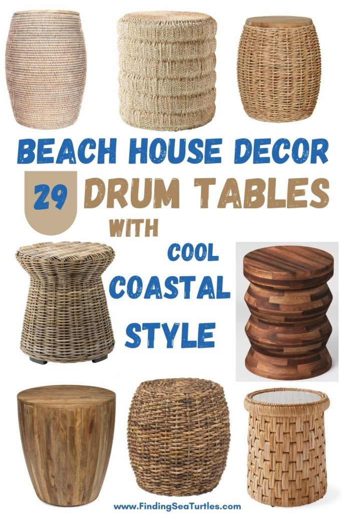 Beach House Decor 29 Drum Tables with cool Coastal Style #DrumTables #SideTables #CoastalDrumTables #BeachHome #CoastalDecor #SeasideDecor #IslandDecor #TropicalIslandDecor #BeachHouse #LakeHouse