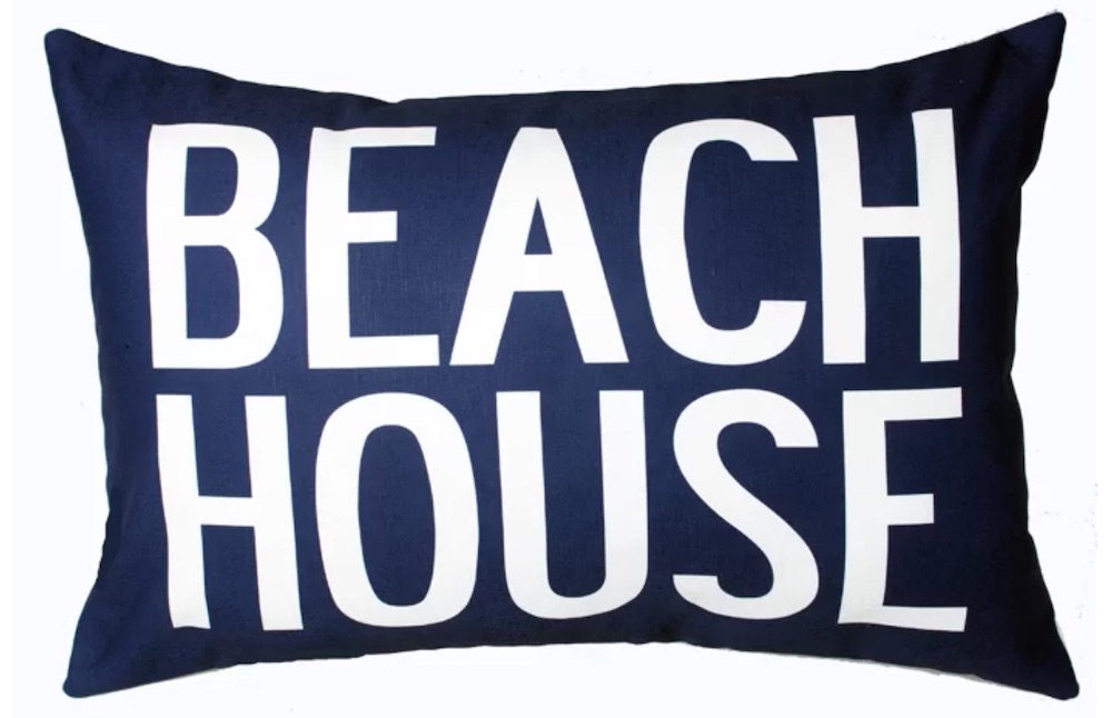 Seaside Style Beach House Lumbar Pillow #Pillows #ThrowPillows #BeachHome #CoastalDecor #SeasideDecor #IslandDecor #TropicalIslandDecor #BeachHomeDecor