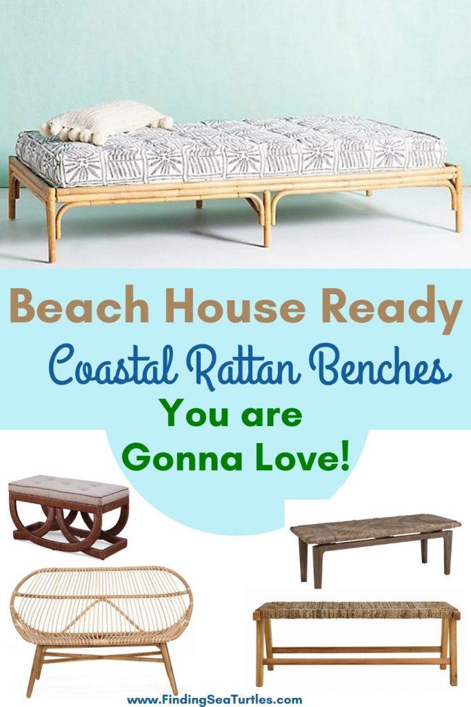 Beach House Ready Coastal Rattan Benches You are Gonna Love #Benches #RattanBenches #Coastal #CoastalRattanBenches #CoastalEntryway #CoastalBedroom #HomeDecor #EntrywayBenches #BeachHouse #SummerHouse #LakeHouse #CoastalHome