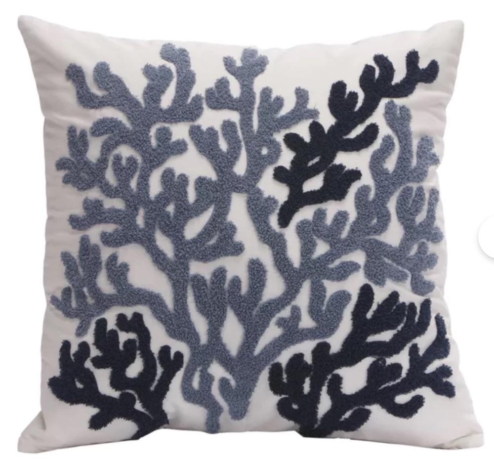 Coastal Living Beach House Square Cotton Pillow Cover #Pillows #ThrowPillows #BeachHome #CoastalDecor #SeasideDecor #IslandDecor #TropicalIslandDecor #BeachHomeDecor