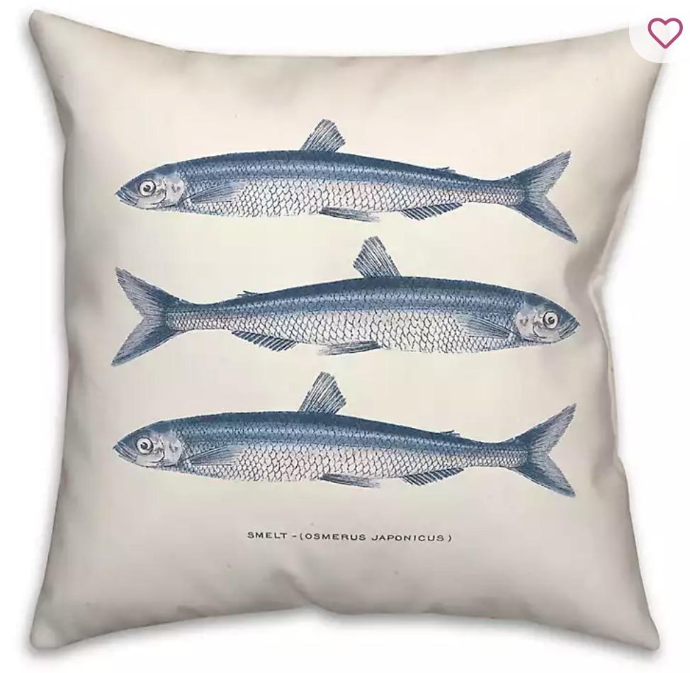 Beach House Decor Blue Coastal Fish Outdoor Pillow #Pillows #ThrowPillows #BeachHome #CoastalDecor #SeasideDecor #IslandDecor #TropicalIslandDecor #BeachHomeDecor