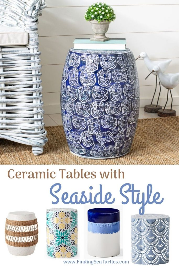 Coastal Style Ceramic Tables Ceramic Tables with Seaside Style #CeramicTables #AccentTables #GardenStools #BeachHome #CoastalDecor #SeasideDecor #IslandDecor #TropicalIslandDecor #BeachHouse