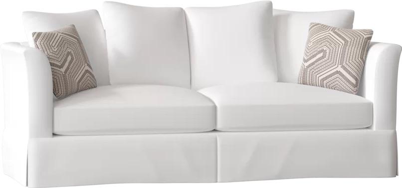 Coastal White Sofas Charlene Flared Arm Sofa #Sofas #CoastalSofas #BeachHome #CoastalDecor #SeasideDecor #IslandDecor #TropicalIslandDecor #BeachHomeSofas