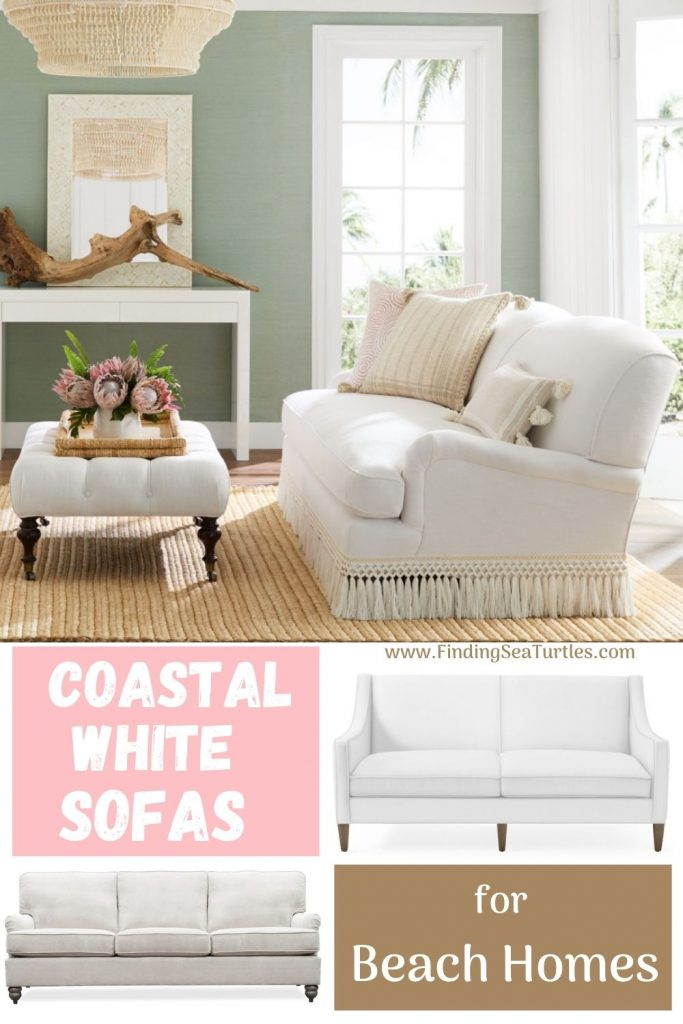 Coastal White Sofas for Beach Homes #Sofas #CoastalSofas #BeachHome #CoastalDecor #SeasideDecor #IslandDecor #TropicalIslandDecor #BeachHomeSofas