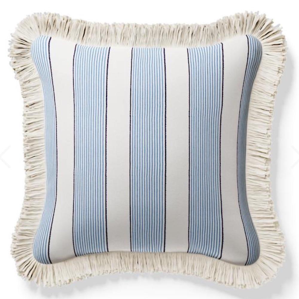 Sailboat Style Crew Stripe Fringed Pillow #Pillows #ThrowPillows #BeachHome #CoastalDecor #SeasideDecor #IslandDecor #TropicalIslandDecor #BeachHomeDecor