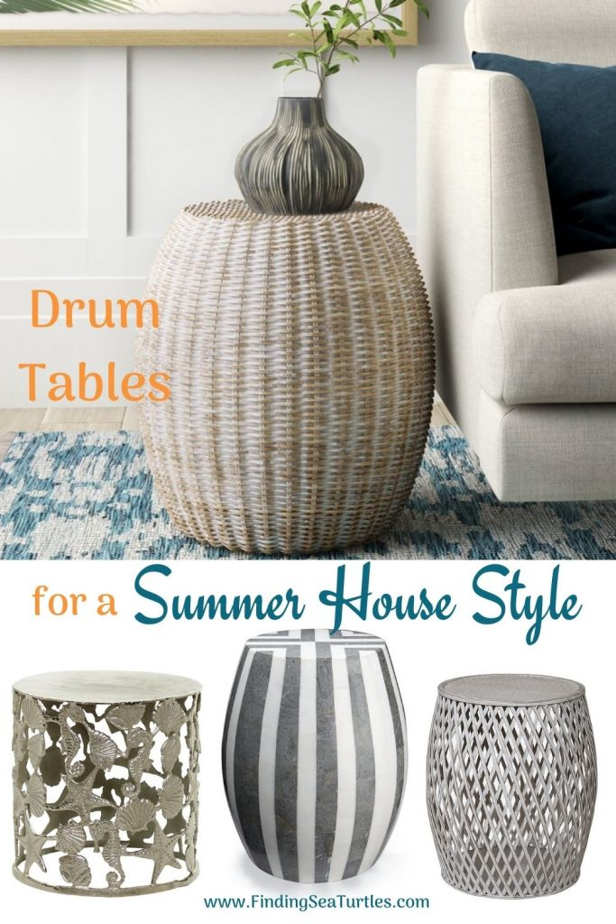Drum Tables for a Summer House Style #DrumTables #SideTables #CoastalDrumTables #BeachHome #CoastalDecor #SeasideDecor #IslandDecor #TropicalIslandDecor #BeachHouse #LakeHouse