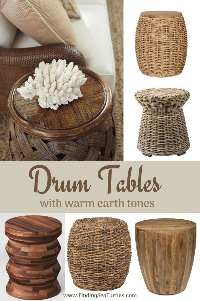 Drum Tables with warm earth tones #DrumTables #SideTables #CoastalDrumTables #BeachHome #CoastalDecor #SeasideDecor #IslandDecor #TropicalIslandDecor #BeachHouse #LakeHouse