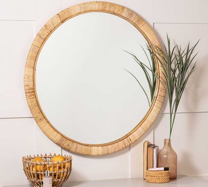 Tropical Island Vibes Hadley Wooden Round Mirror #Mirrors #Coastal #RattanMirrors #BeachHome #CoastalDecor #CoastalFurniture #Seaside #Tropical #Island