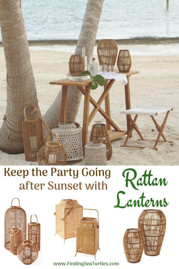 Rattan Lanterns for your Beach Home Keep the Party Going after Sunset with Rattan Lanterns #rattan #RattanLanterns #BeachHome #CoastalDecor #IslandDecor #SeasideDecor #TropicalIslandDecor #BeachHomeDecor