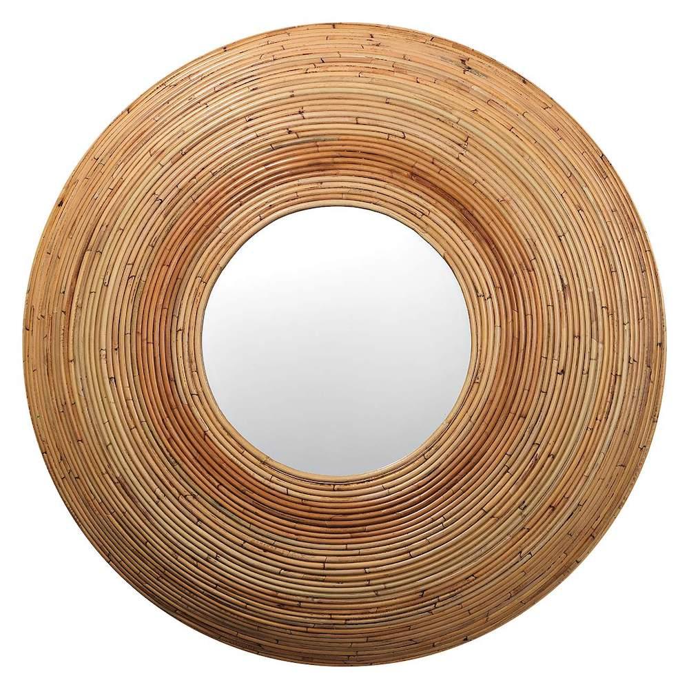 Tropical Island Decor Koa Natural Rattan Round Mirror #Mirrors #Coastal #RattanMirrors #BeachHome #CoastalDecor #CoastalFurniture #Seaside #Tropical #Island