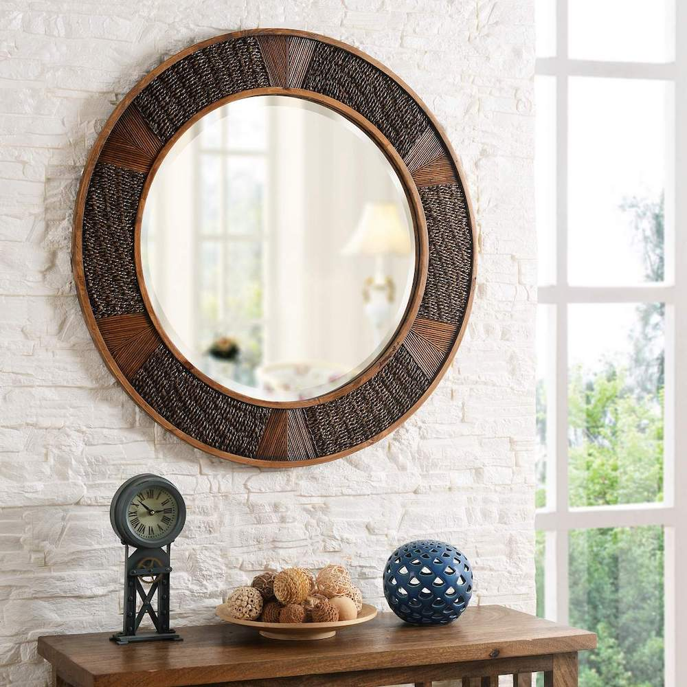 Seashore Lifestyle Lagoon Painted Wood Rattan Round Mirror #Mirrors #Coastal #RattanMirrors #BeachHome #CoastalDecor #CoastalFurniture #Seaside #Tropical #Island