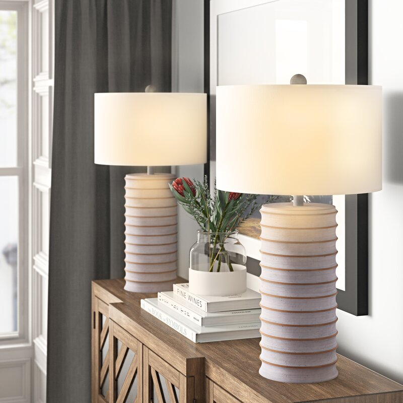 Coastal Table Lamps Moira White Washed Lamp Set #Lamps #TableLamps #BeachHome #CoastalDecor #SeasideDecor #IslandDecor #TropicalIslandDecor #BeachHomeDecor #LivingRoom #Bedroom