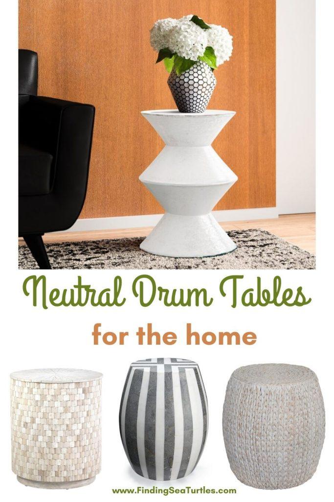 Neutral Drum Tables for the home #DrumTables #SideTables #CoastalDrumTables #BeachHome #CoastalDecor #SeasideDecor #IslandDecor #TropicalIslandDecor #BeachHouse #LakeHouse