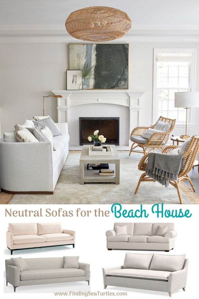 Coastal White Sofas Neutral Sofas for the Beach House #Sofas #CoastalSofas #BeachHome #CoastalDecor #SeasideDecor #IslandDecor #TropicalIslandDecor #BeachHomeSofas