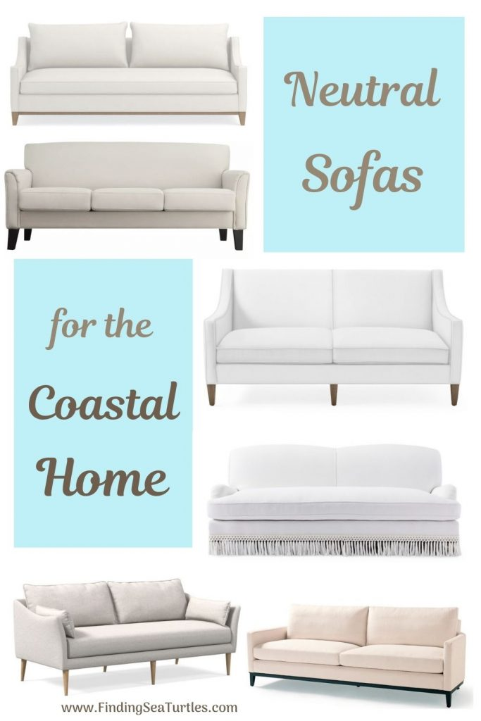 Coastal White Sofas Neutral Sofas for the Coastal Home #Sofas #CoastalSofas #BeachHome #CoastalDecor #SeasideDecor #IslandDecor #TropicalIslandDecor #BeachHomeSofas