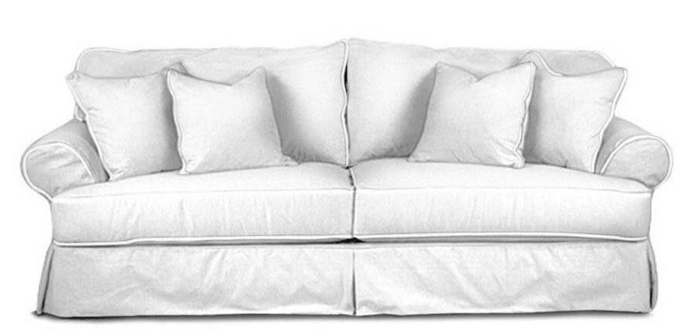 Seaside Style Newton Rolled Arm Sofa #Sofas #CoastalSofas #BeachHome #CoastalDecor #SeasideDecor #IslandDecor #TropicalIslandDecor #BeachHomeSofas