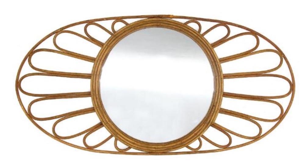 Coastal Decor Oval Natural Rattan Floral Mirror #Mirrors #Coastal #RattanMirrors #BeachHome #CoastalDecor #CoastalFurniture #Seaside #Tropical #Island