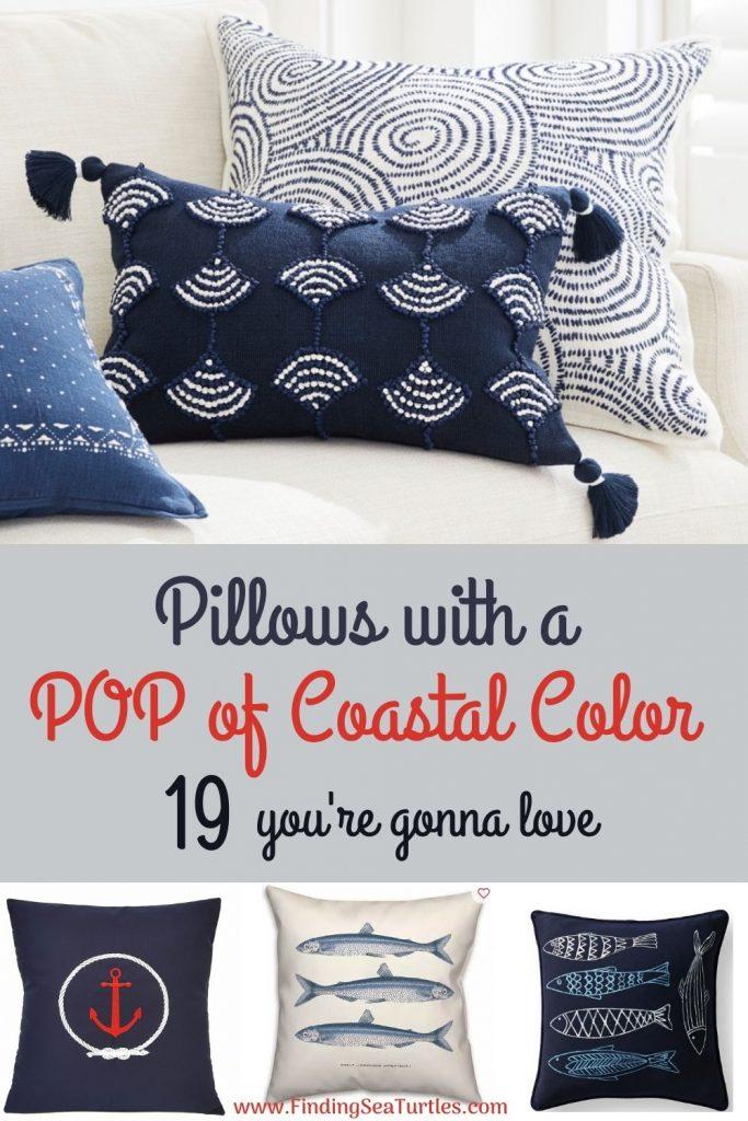 Pillows with a POP of Coastal Color 19 you're gonna love #Pillows #ThrowPillows #BeachHome #CoastalDecor #SeasideDecor #IslandDecor #TropicalIslandDecor #BeachHomeDecor