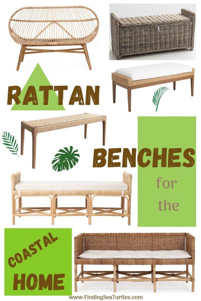 Rattan Benches for the Coastal Home #Benches #RattanBenches #Coastal #CoastalRattanBenches #CoastalEntryway #CoastalBedroom #HomeDecor #EntrywayBenches #BeachHouse #SummerHouse #LakeHouse #CoastalHome